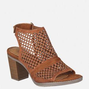 NIB Faux Suede Studded Slingback Heels